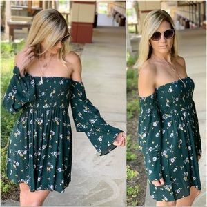 Hunter green floral off shoulder dress